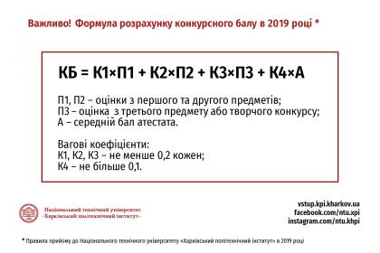 Розрахунок конкурсного балу (КБ) Вступ 2019